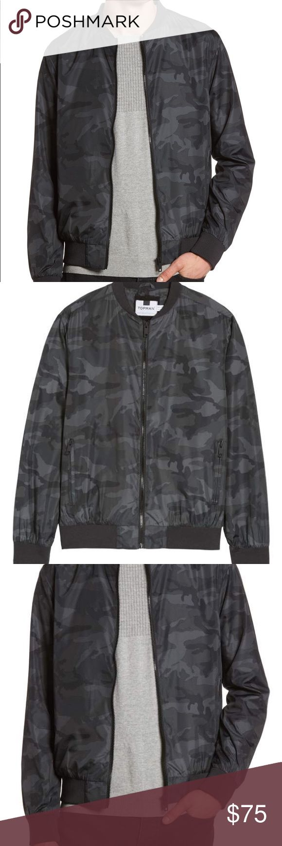 """Camo Print Bomber Jacket TOPMAN $90 msrp XL A classic bomber jacket made from slick, camo-print fabric with soft ribbed trim is just light enough for easy layering without losing any style points. 26"""" length (size Large) Front zip closure Long sleeves Ribbed collar, cuffs and hem Front zip pockets Lined 100% polyester Machine wash, line dry Imported- sold out 2018 style- brand new- tags removed to prevent store return Topman Jackets & Coats Bomber & Varsity"""