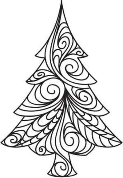 zentangle christmas with colored pencils | Christmas tree | Coloriage, découpage à imprimer pour enfants