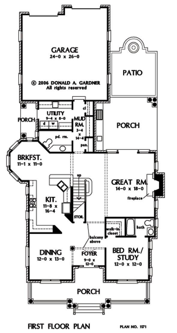 First Floor Plan of The Clifton - House Plan Number 1171