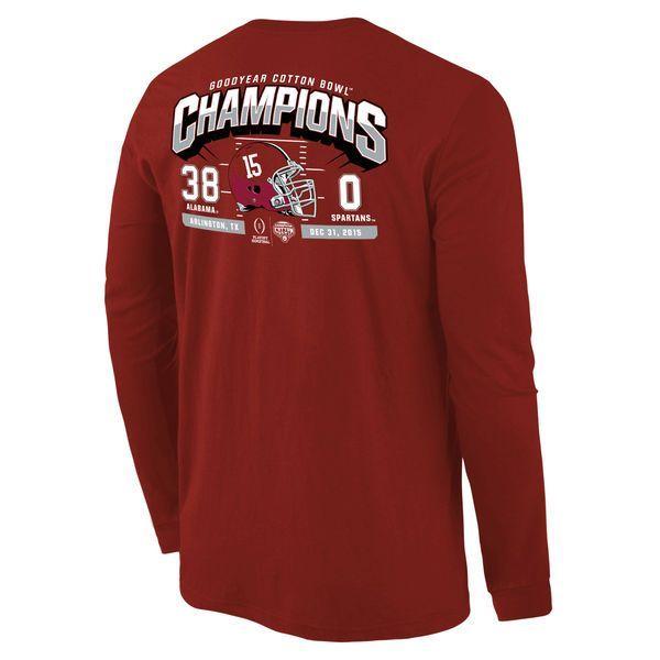 Alabama Crimson Tide College Football Playoff 2015 Cotton Bowl Champions Touchdown Score Long Sleeve T-Shirt - Crimson - $24.99