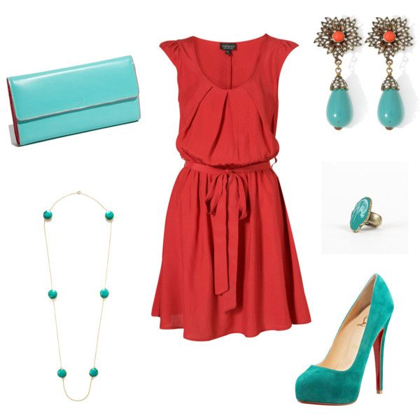 coral dress & teal heals with accessories