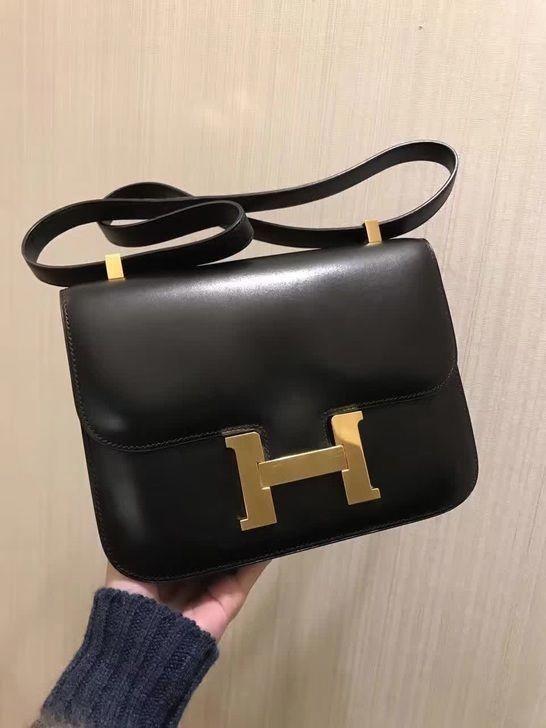 c44adf90392 Genuine - Hermes - Constance shoulder bag handbag black  Hermeshandbags