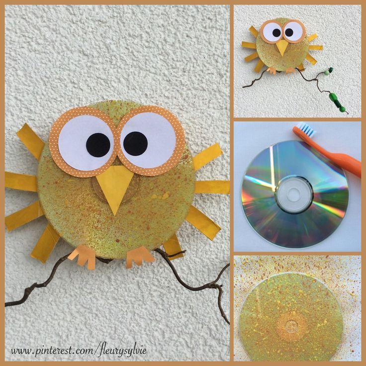 """Bricolage enfant, un hibou avec un CD, peint avec la """"technique de la brosse à dent"""" . http://pinterest.com/fleurysylvie/mes-creas-pour-les-kids/ et www.toutpetitrien.ch"""