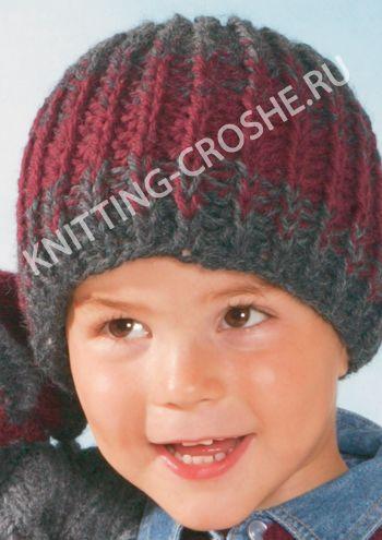 Вязаная детская шапочка серого цвета для мальчика