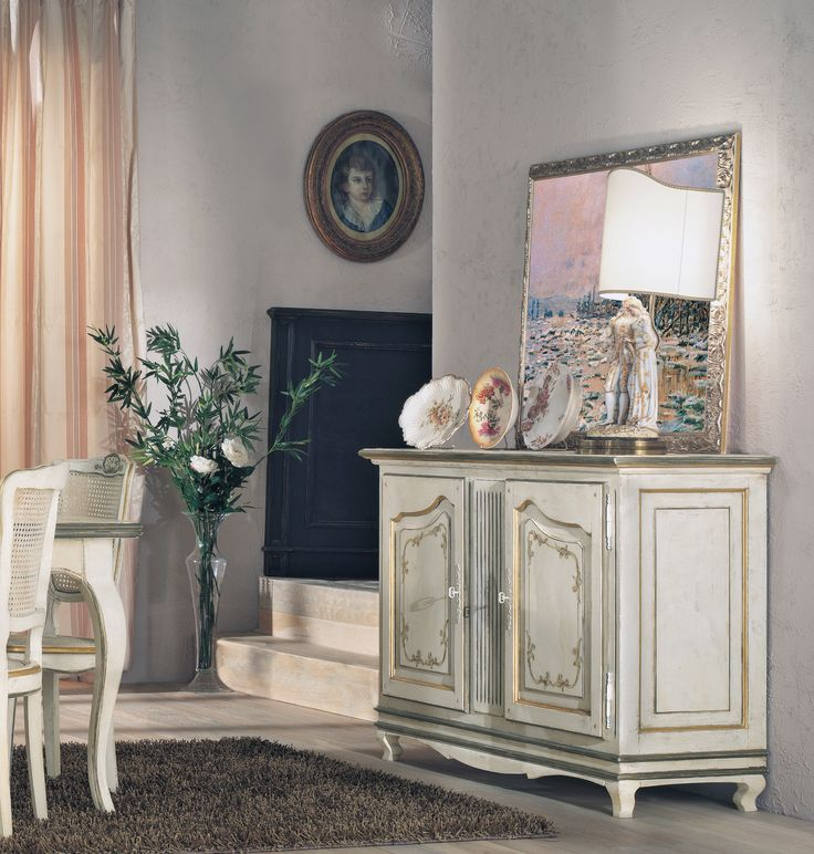 PR102/D5 Credenza con segreto |  Provenzale sideboard with 2 doors and secret space - L/W 150 P/D 50 H 95 PR501/D5 Sedia paglia di Vienna | Provenzale chair with straw seat - L/W 46 P/D 50 H 96
