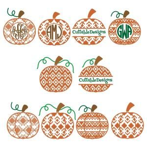 Pumpkin Aztec Print Pattern with Frames Monogram Cuttable Design Cut File. Vector, Clipart, Digital Scrapbooking Download, Available in JPEG, PDF, EPS, DXF and SVG. Works with Cricut, Design Space, Sure Cuts A Lot, Make the Cut!, Inkscape, CorelDraw, Adobe Illustrator, Silhouette Cameo, Brother ScanNCut and other compatible software.