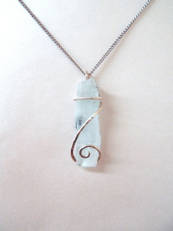 Aquamarine Pendant - Large Raw Blue Crystal Cold Forged Sterling Silver .925 Wirewrap March Birthstone Jewelry FREE SHIPPING