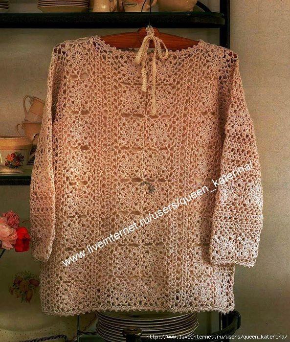 Пуловер квадратными мотивами крючком