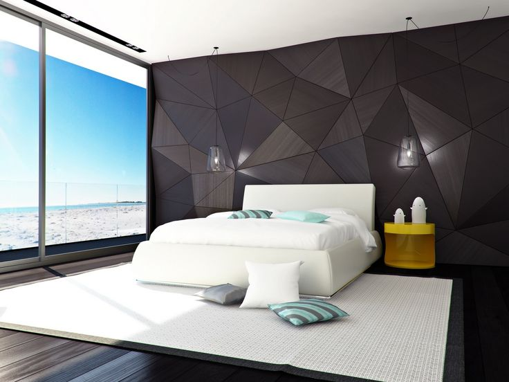 Decoration, Cool Modern Bedroom Design With Elegant Black Wall Panel Decor  Also White Modern Bed With Yellow Unique Nightstand Also White Cushions  Also Blue ...