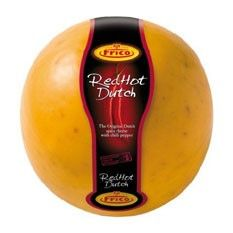 Red Hot Dutch Edam Cheese  This tantalizing combination of classic Dutch Edam cheese laced with spicy chili peppers is red hot. A special treat for the adventurous cheese explorer seeking a spicy cheese.