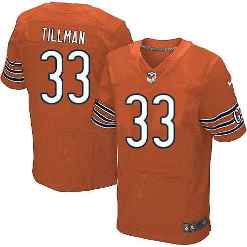 $129.99 Men's Nike Chicago Bears #33 Charles Tillman Elite Orange Alternate Jersey