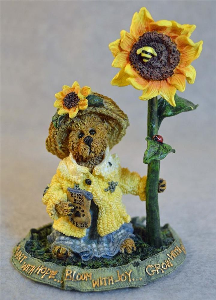 BOYDS BEARS BEARSTONE BLOSSUM B. BERRIWEATHER BLOOM WITH JOY WITH SUNFLOWERS-MIB