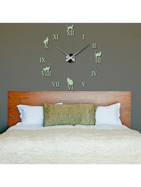 Moderní nástěnné hodiny - Černá kočka Kód:  12S020-RAL6019-S-COLOR** Vyber si barvu podle sebe! Přišel čas zútulnit si své bydlení novými hodinami. Velké nástěnné 3D hodiny jsou krásnou dekorací Vašeho interiéru. Už nikdy nebudete opozdí.