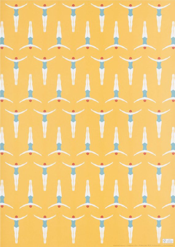 Swimming In The Sun wrapping paper di Multifolia su Etsy