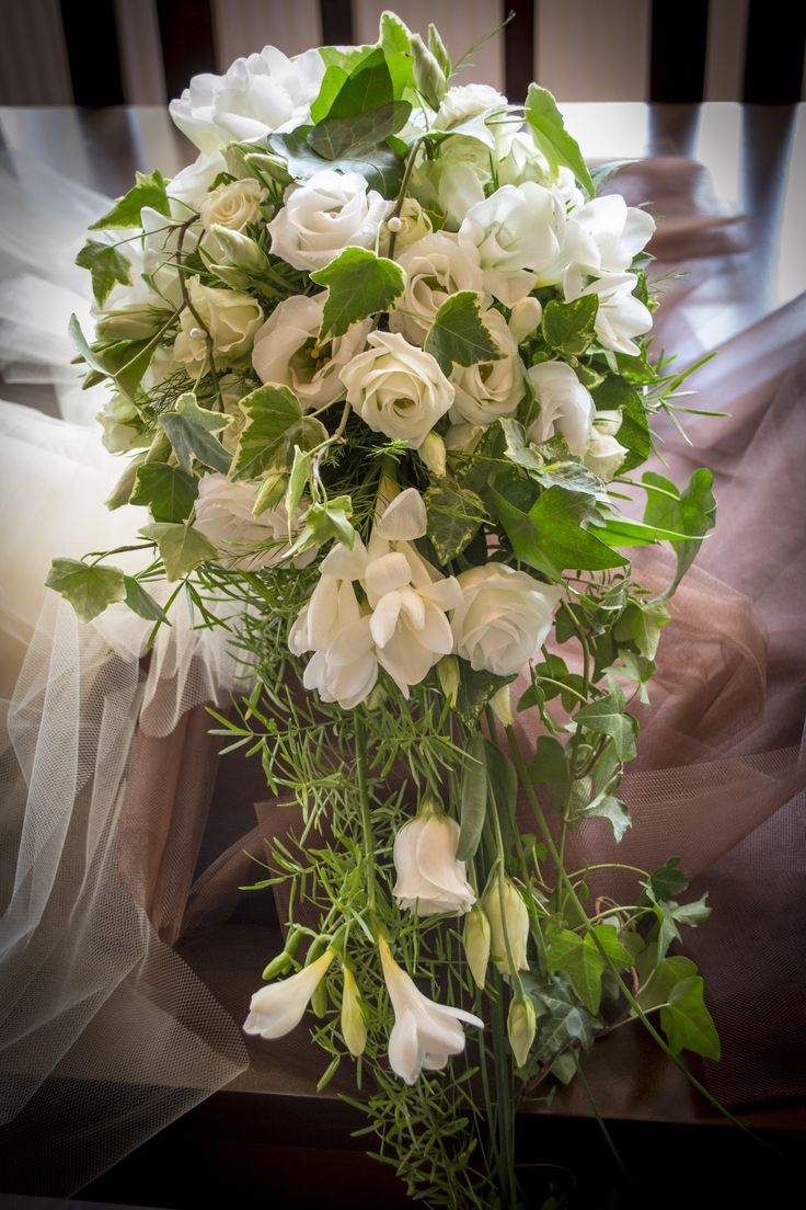 Wedding bouquet white  #eustoma, #freesia # minirose