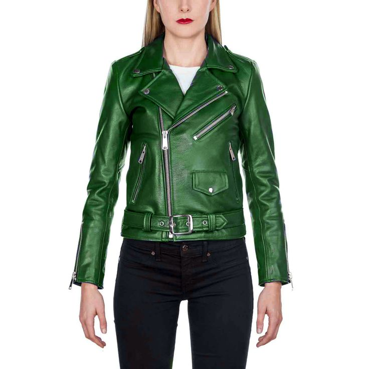 New Women Green Leather Jacket, Fashion Biker Designer Leather Jacket For Women' - Coats & Jackets
