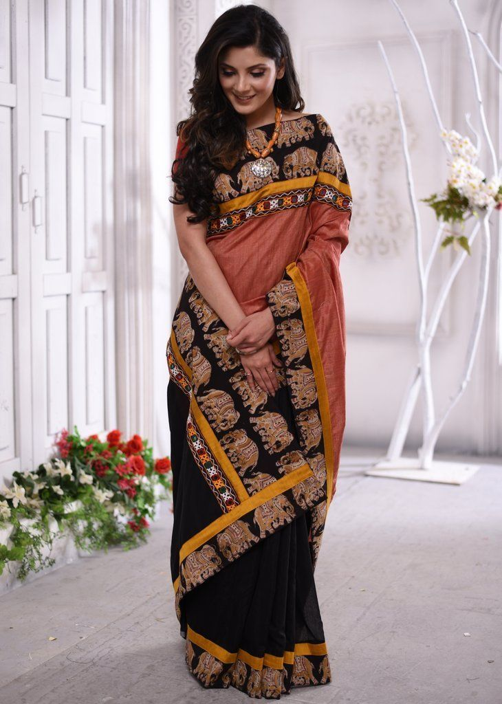 187144ea00 Brown Semi silk saree with kalamkari & kutch mirror work border & cott –  Sujatra