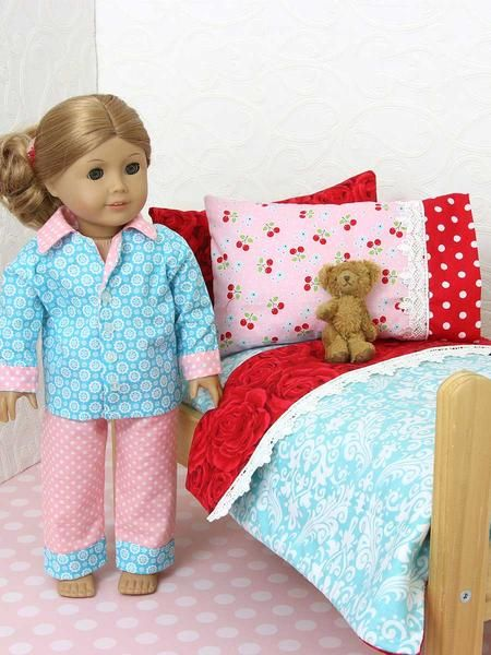 This 18-inch doll bedding pattern has four simple pieces for you to make. The doll's mattress, the blanket, a pillow insert, and 2 styles of pillowcases.