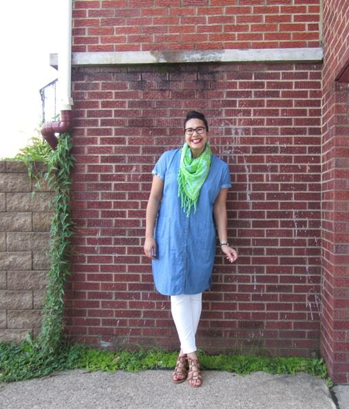 Gracey of Fashion for Giants in No Nonsense denim leggings, Old Navy chambray tunic, Echo scarf, and Dune London lace up sandals