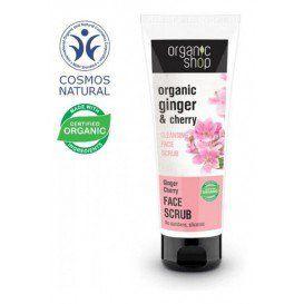 Organic Shop - Oczyszczający peeling do twarzy - Wiśnia i imbir