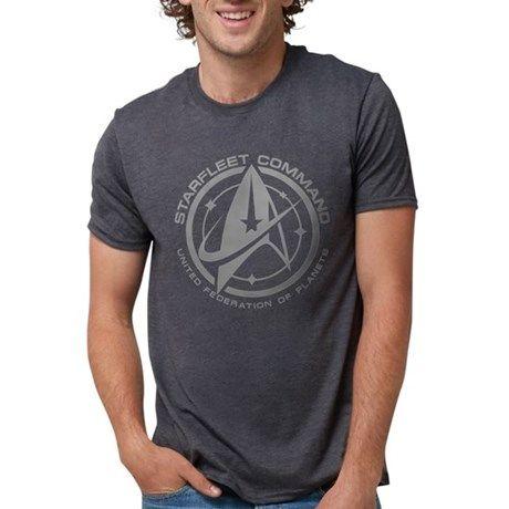 Grey Starfleet Command Emblem T-Shirt - Description: A fan inspired Star Trek design. A grey Starfleet command emblem with stylized delta symbol and stars.