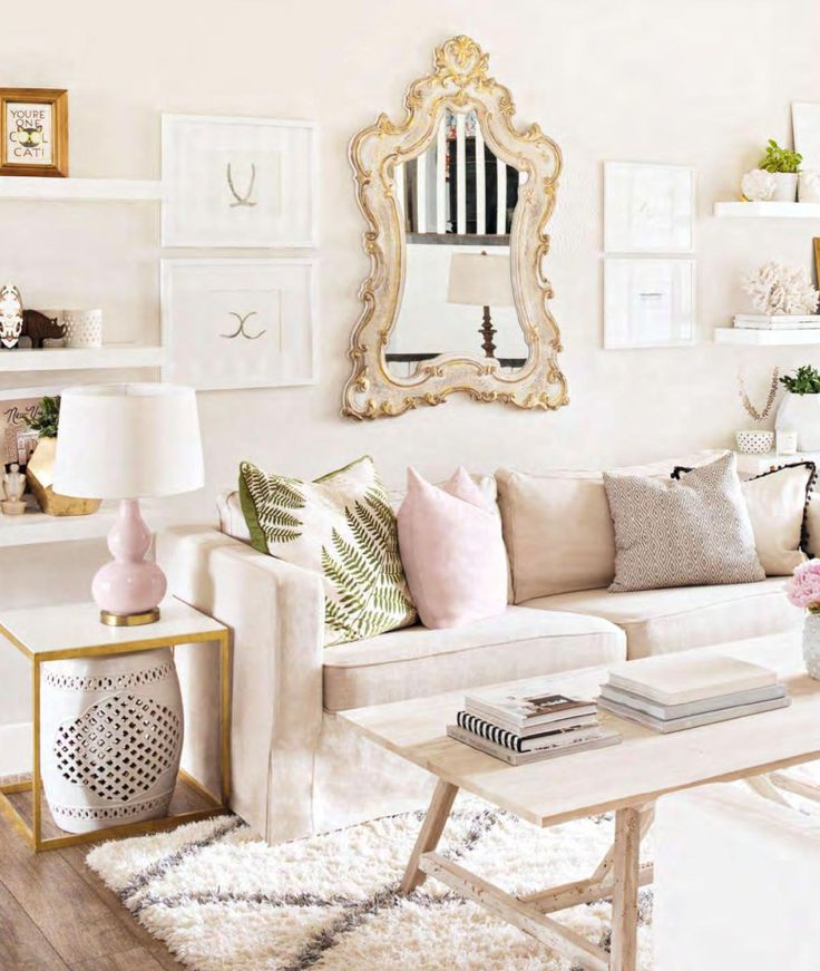 17 best ideas about pink living rooms on pinterest pink live pink walls and pink sofa Gold accessories for living room