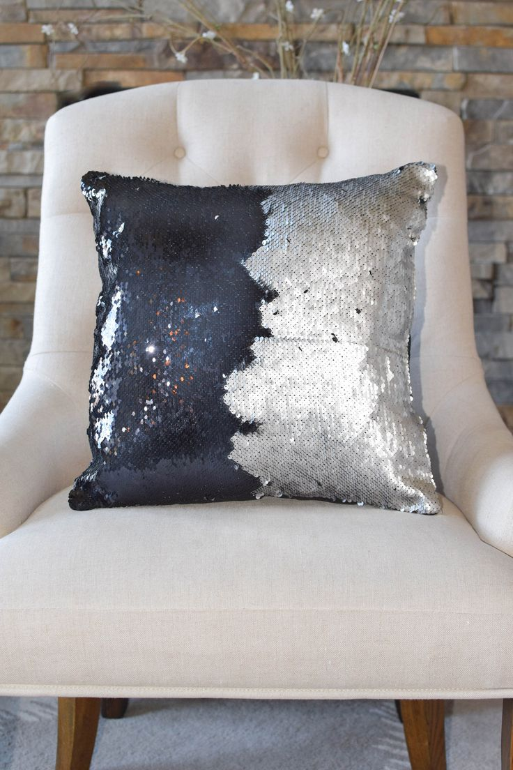 Our Matte Nautical Navy & Silver Reversible Sequin Mermaid Pillow is a fun and versatile and the matte sequins adds that perfect touch of sophistication! Swipe your hand over it to change up the color