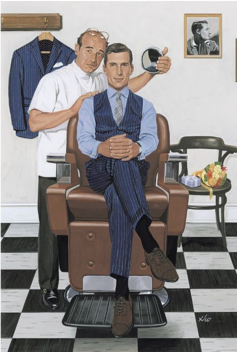 Vintage styled illustration from Azabu Tailor     You really can't go wrong with a 3- piece pinstripe suit!