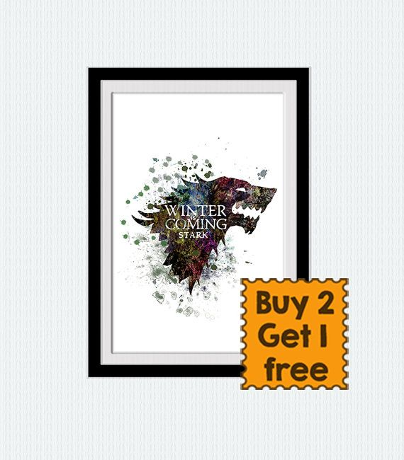 House Stark banner watercolor poster Game of by ColorfulPrint