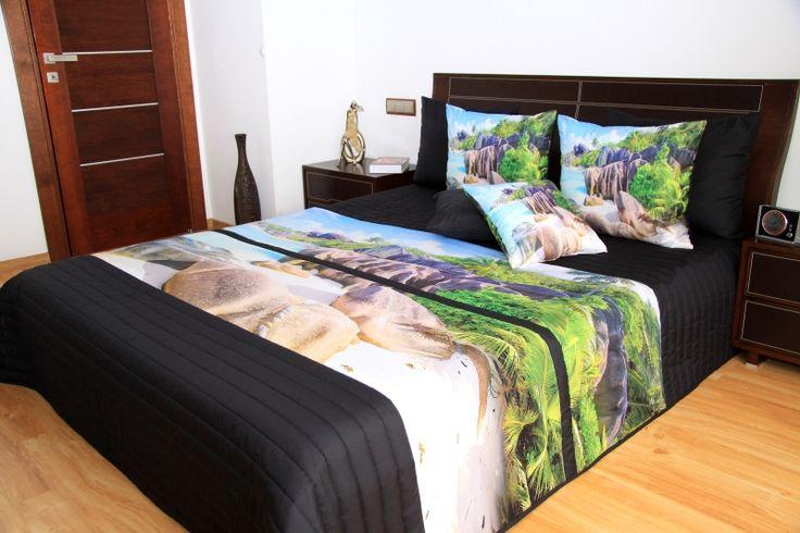 Černé přehozy na manželskou postel s 3D potiskem pláže