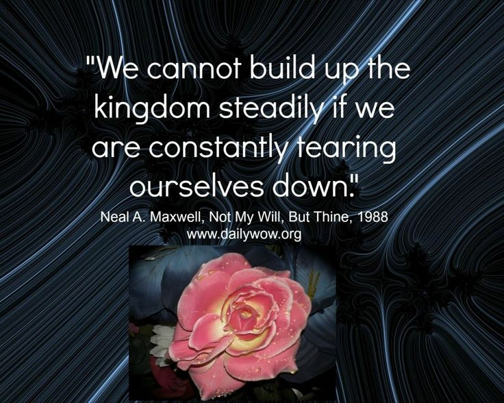 """""""We cannot build up the kingdom steadily if we are constantly tearing ourselves down."""" ~Neal A. Maxwell"""