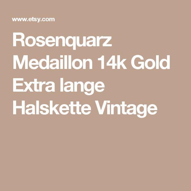 Rosenquarz Medaillon 14k Gold Extra lange Halskette Vintage