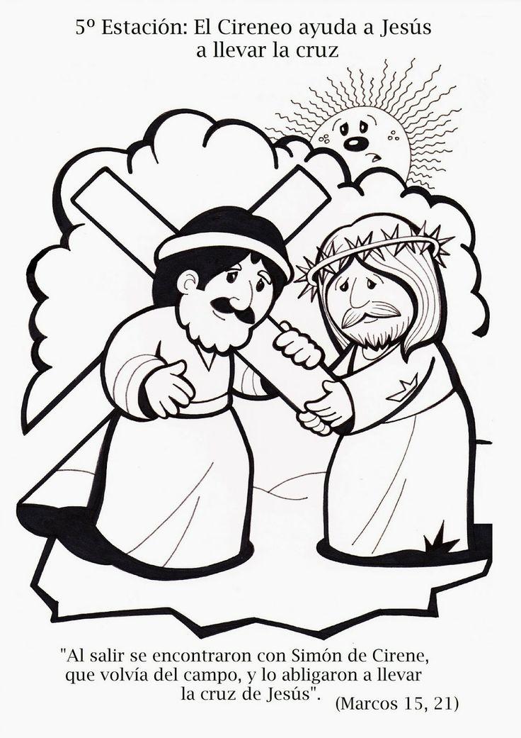 5. Station Simon von Cyrene hilft Jesus das schwere Kreuz tragen, Kinderkreuzweg zum Ausmalen für Kinder
