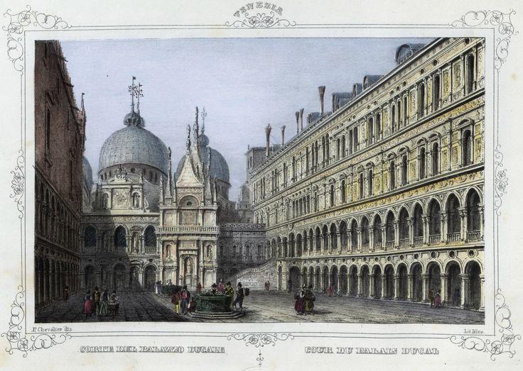 Venezia, corte dell Palazzo Ducale (National Library of Poland - 1847, lithography)