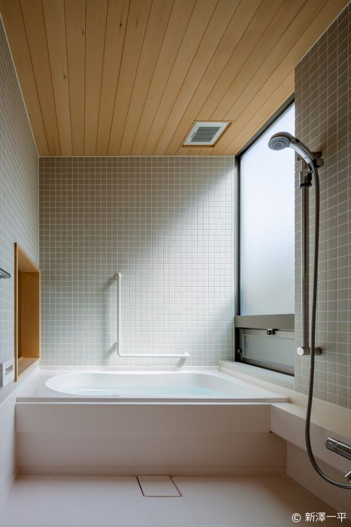 Like tile walls and wood ceiling.