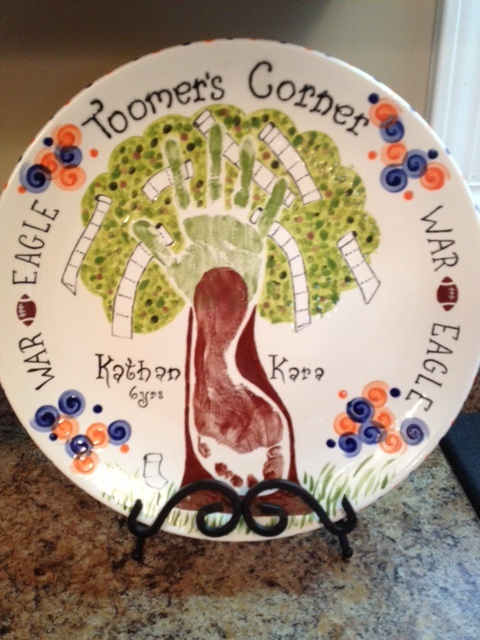 handprint pottery Toomer's Corner