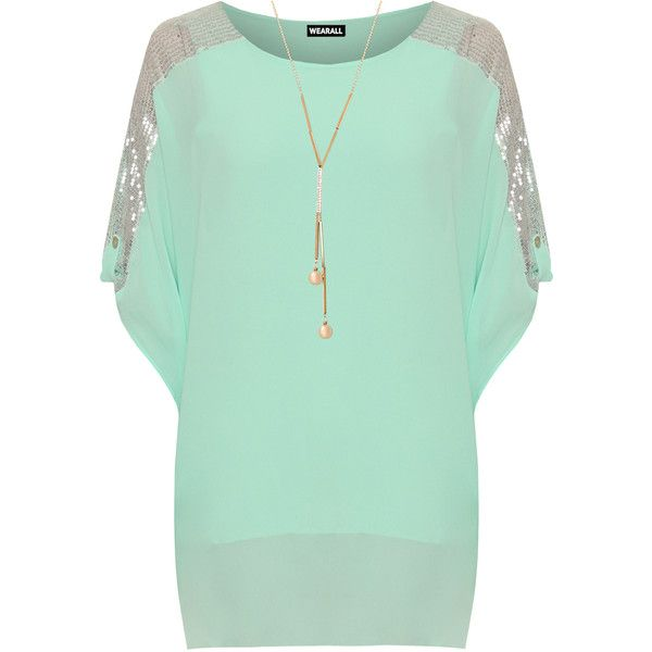 Carol Chiffon Sequin Mesh Batwing Sleeve Top ($24) ❤ liked on Polyvore featuring plus size women's fashion, plus size clothing, plus size tops, mint green, mesh long sleeve top, green sequin top, green chiffon top, chiffon tops and sparkly tops