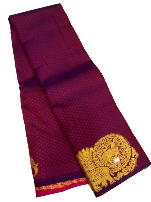 Purple Handloom Kanjeevaram Pure Silk Saree