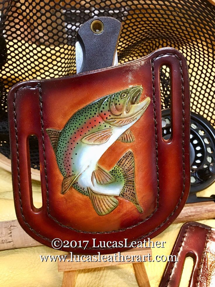 Hand Carved Rainbow Trout Leather Pancake Holster Style Pocket Knife Sheath