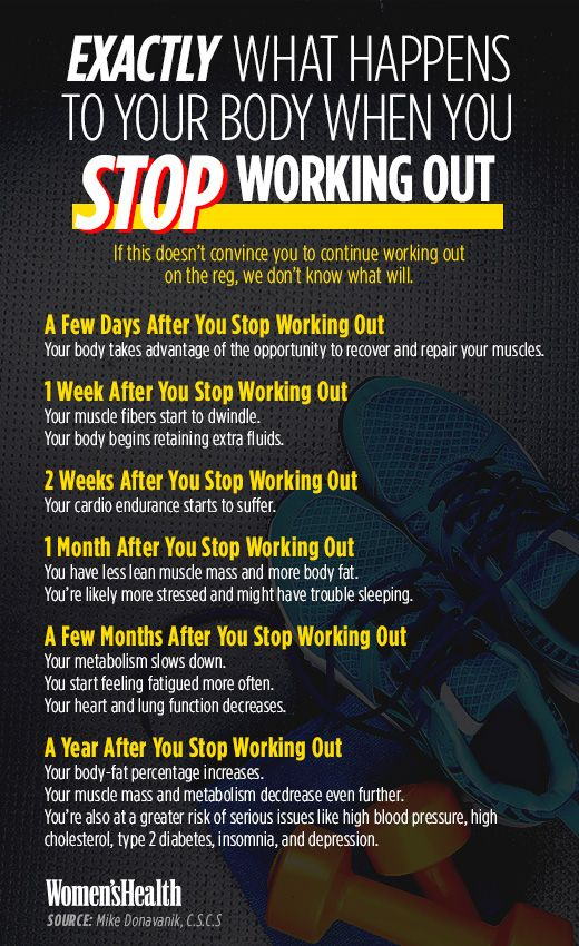 Here's What Happens to Your Body When You Take a Break from Working Out  http://www.womenshealthmag.com/fitness/when-you-stop-working-out?cid=NL_WHDD_-_12192015_YourBodyWhenYouTakeaBreakfromWorkingOut