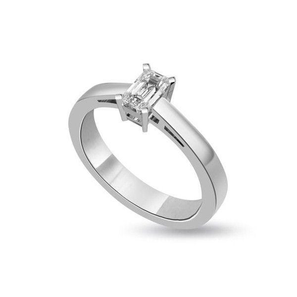 Anello di fidanzamento Solitario con diamante 18ct oro bianco | Solitario con diamante taglio smeraldo montato a griffe. L`anello è disponibile in 18ct oro bianco, 18ct oro giallo e in platino. Il peso dei carati del diamante può variare da 0.20ct a 0.60ct ed il colore da F ad I e la purezza da VS1 ad SI1. L`anello è accompagnato dal certificato del diamante. Perfetto per fidanzamento, matrimonio o anniversario e come regalo nel giorno di San Valentino.