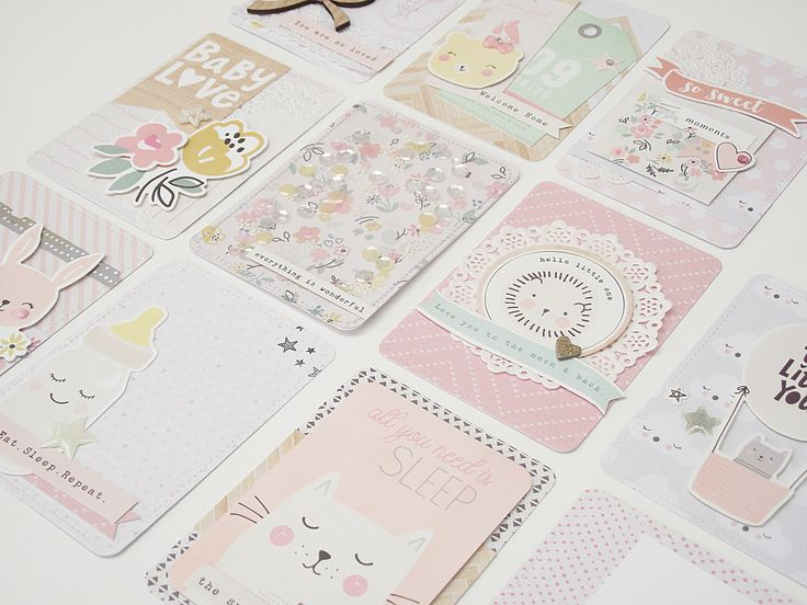 Project Life Card Set - Crate Paper - 'Little You - Girl' - 11 Journalling and Embellished 3x4 Cards by GlitterartzyCrafts on Etsy