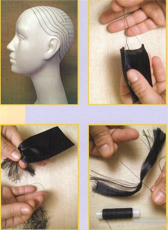 Волосы для куклы из атласных лент, мастер класс