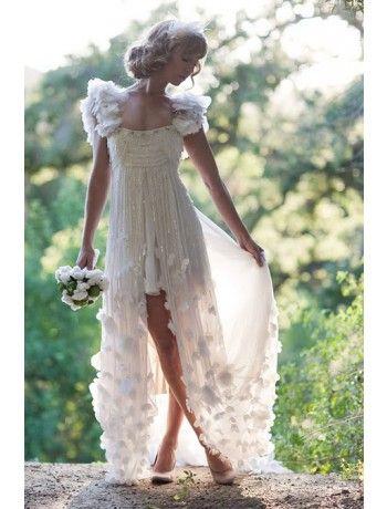 Stunning A-line Square Asymmetrical-Length Chiffon Vintage Wedding Dress