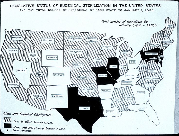 Eugenical Sterilization Map of the United States, 1935