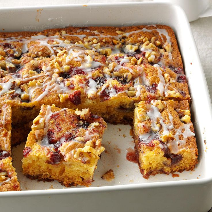 Pretty Cranberry Coffee Cake Recipe -Cranberries make this coffee cake a beautiful quick bread that's perfect for the holidays. For extra shimmer, we add a drizzle of almond-flavored glaze. —Darlene Brenden, Salem, Oregon