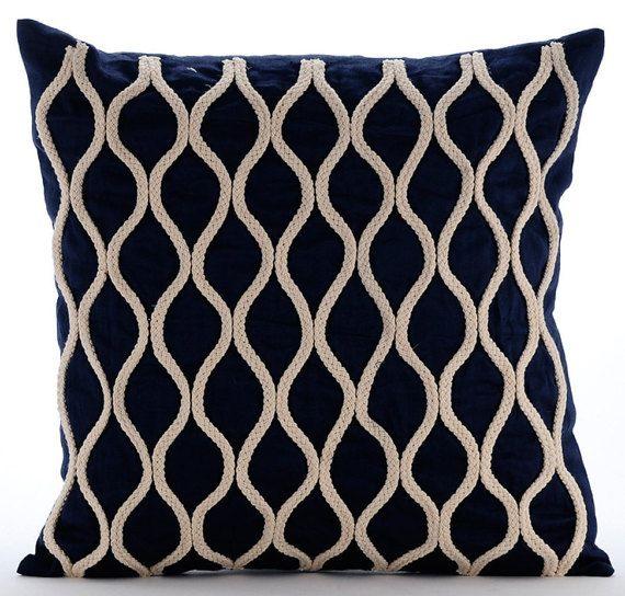 Jute Chorus -Jute Cord Embroidered Navy Blue Linen Throw Pillow.