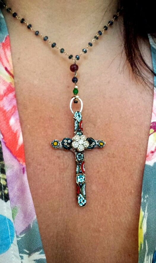 Vintage micro mosaic one of a kind cross hand wired sapphires,  rubies, and emeralds