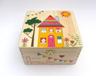 Large hand-painted keepsake box Wooden memory box Trinket
