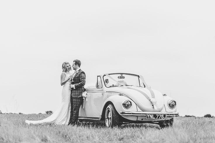 Vintage beetle wedding car Maidens Barn wedding photography by Sam and Louise www.samandlouise.co.uk